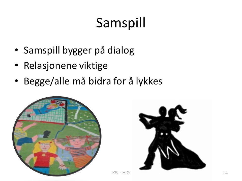 Samspill Samspill bygger på dialog Relasjonene viktige Begge/alle må bidra for å lykkes KS - HiØ14