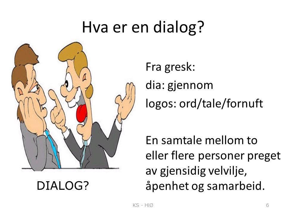 Hva er en dialog? Fra gresk: dia: gjennom logos: ord/tale/fornuft En samtale mellom to eller flere personer preget av gjensidig velvilje, åpenhet og s