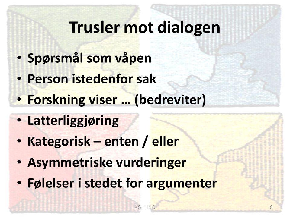 Trusler mot dialogen Spørsmål som våpen Person istedenfor sak Forskning viser … (bedreviter) Latterliggjøring Kategorisk – enten / eller Asymmetriske