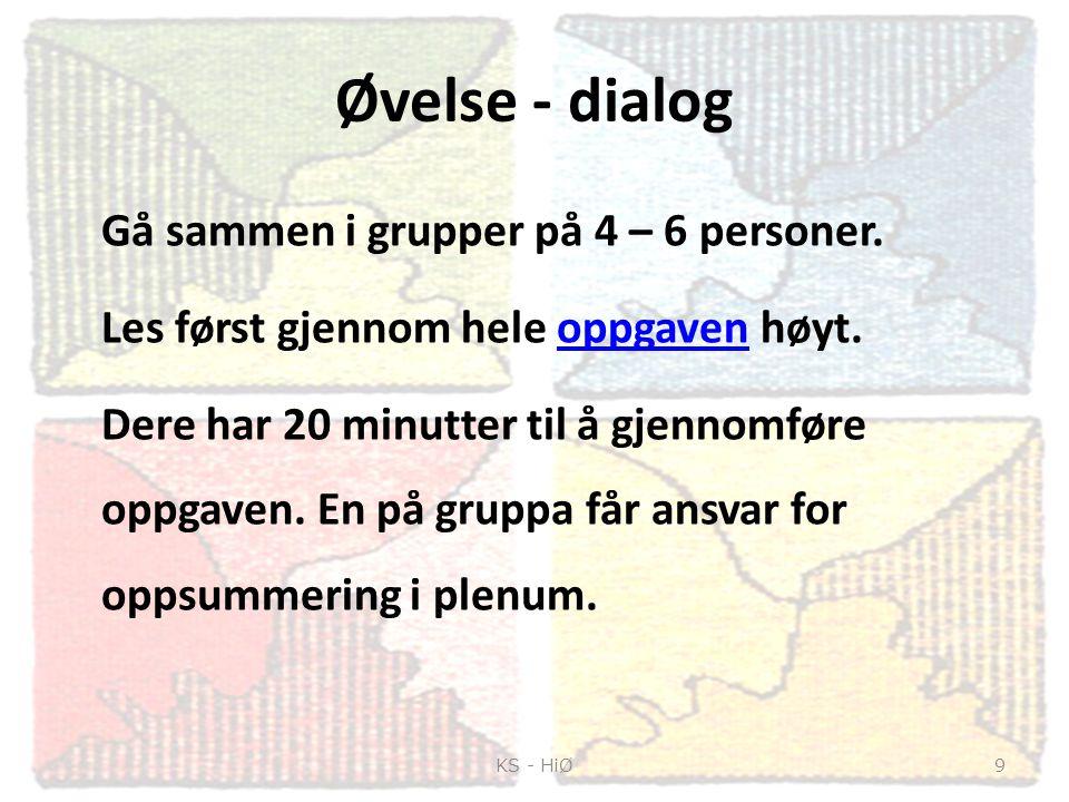 Øvelse - dialog Gå sammen i grupper på 4 – 6 personer. Les først gjennom hele oppgaven høyt.oppgaven Dere har 20 minutter til å gjennomføre oppgaven.
