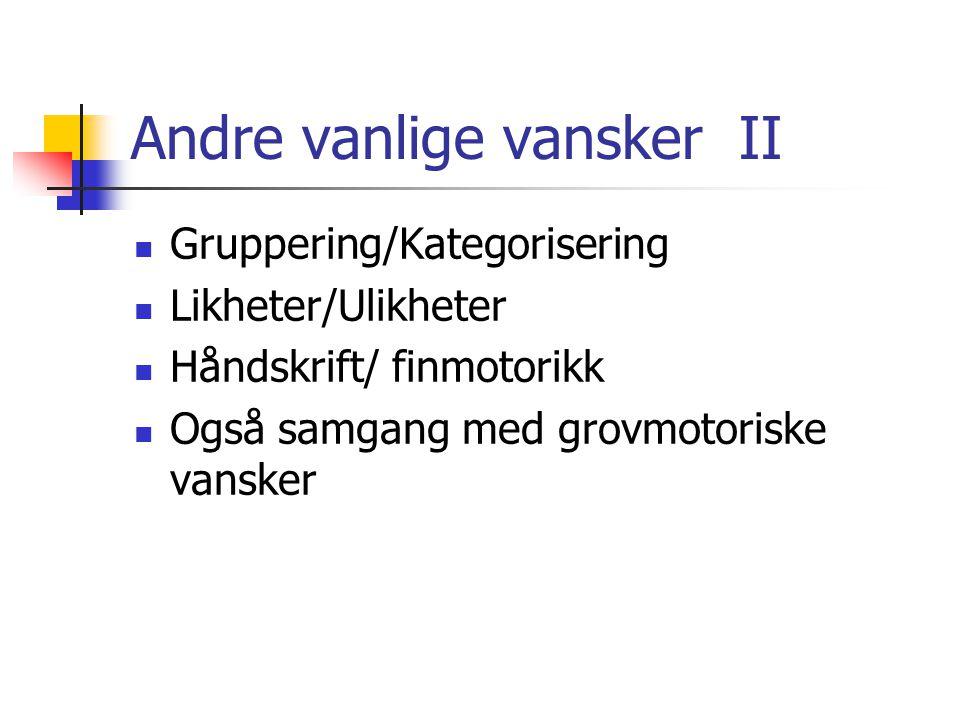 Andre vanlige vansker II Gruppering/Kategorisering Likheter/Ulikheter Håndskrift/ finmotorikk Også samgang med grovmotoriske vansker