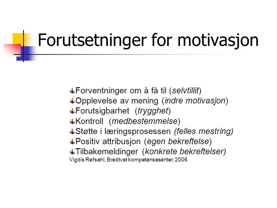 Forutsetninger for motivasjon Forventninger om å få til (selvtillit) Opplevelse av mening (indre motivasjon) Forutsigbarhet (trygghet) Kontroll (medbe