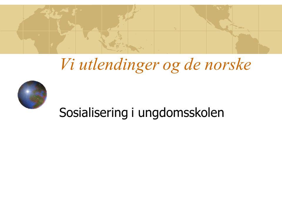 Vi utlendinger og de norske Sosialisering i ungdomsskolen