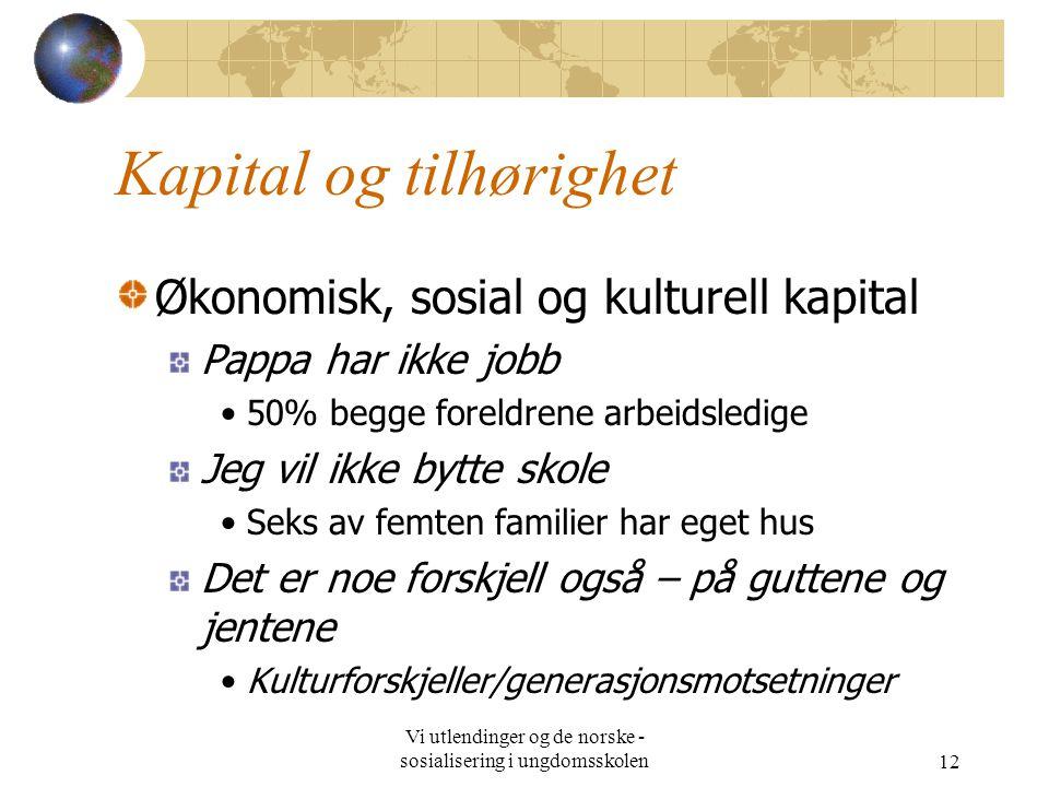 Vi utlendinger og de norske - sosialisering i ungdomsskolen12 Kapital og tilhørighet Økonomisk, sosial og kulturell kapital Pappa har ikke jobb 50% be