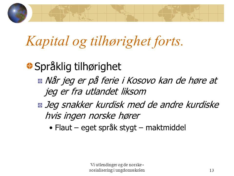 Vi utlendinger og de norske - sosialisering i ungdomsskolen13 Kapital og tilhørighet forts.