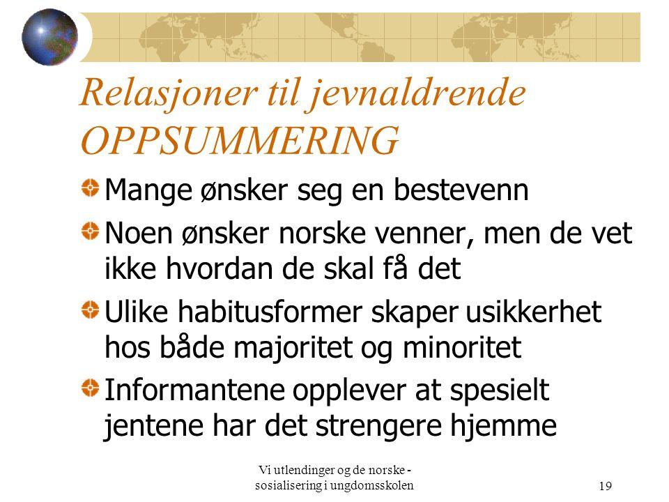 Vi utlendinger og de norske - sosialisering i ungdomsskolen19 Relasjoner til jevnaldrende OPPSUMMERING Mange ønsker seg en bestevenn Noen ønsker norsk