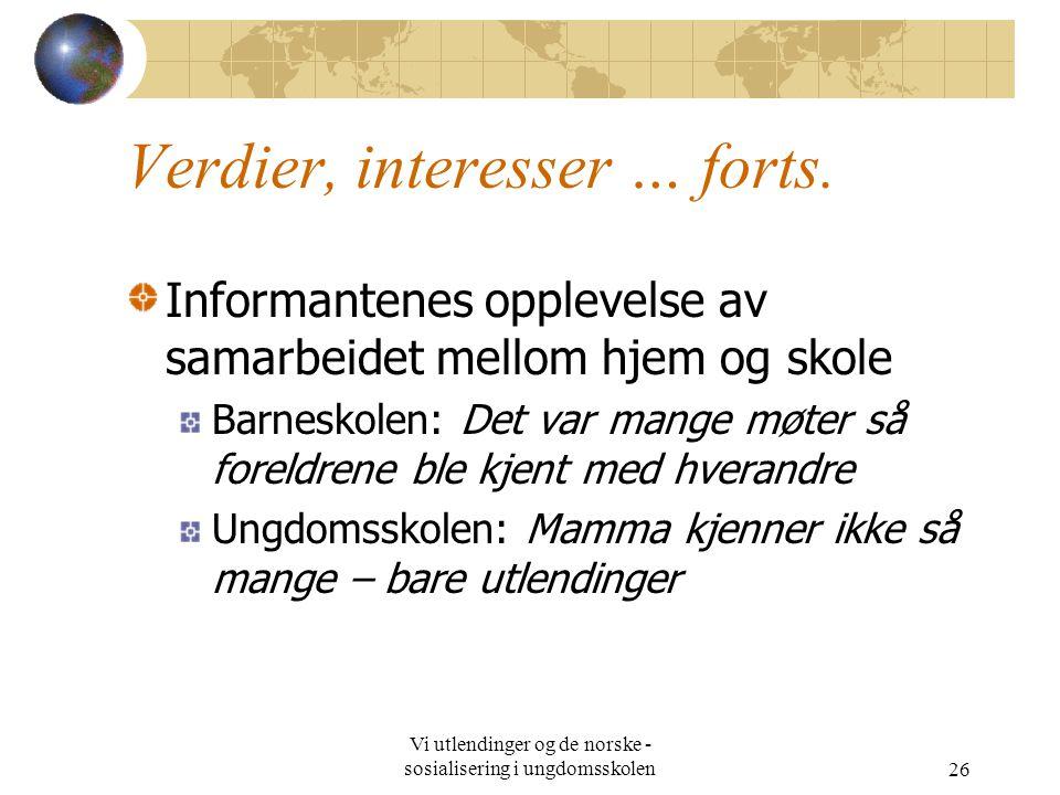 Vi utlendinger og de norske - sosialisering i ungdomsskolen26 Verdier, interesser … forts.