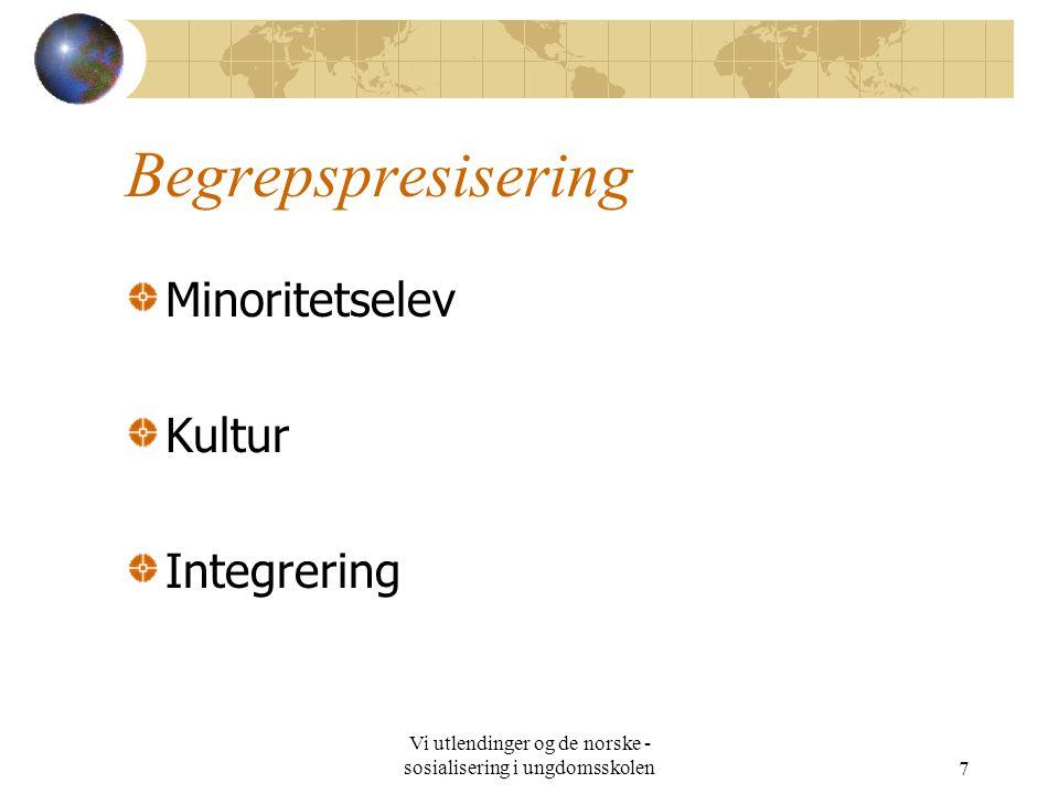 Vi utlendinger og de norske - sosialisering i ungdomsskolen7 Begrepspresisering Minoritetselev Kultur Integrering