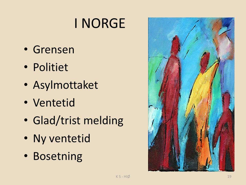 I NORGE Grensen Politiet Asylmottaket Ventetid Glad/trist melding Ny ventetid Bosetning 19K S - HiØ