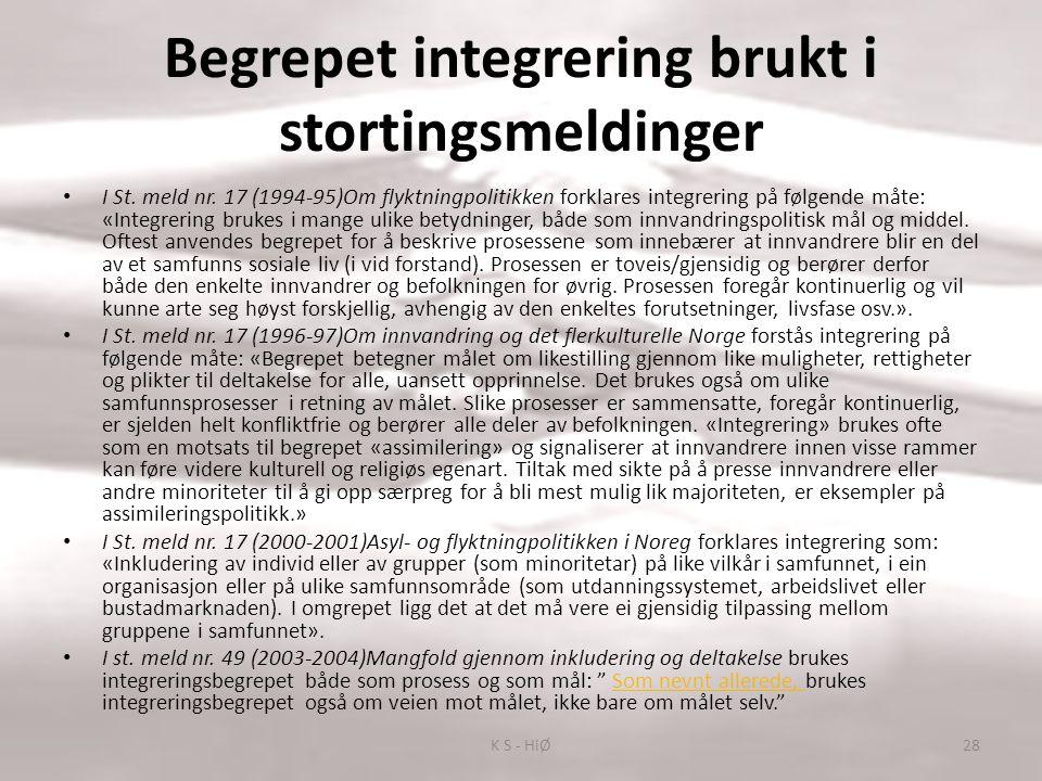 Begrepet integrering brukt i stortingsmeldinger I St. meld nr. 17 (1994-95)Om flyktningpolitikken forklares integrering på følgende måte: «Integrering