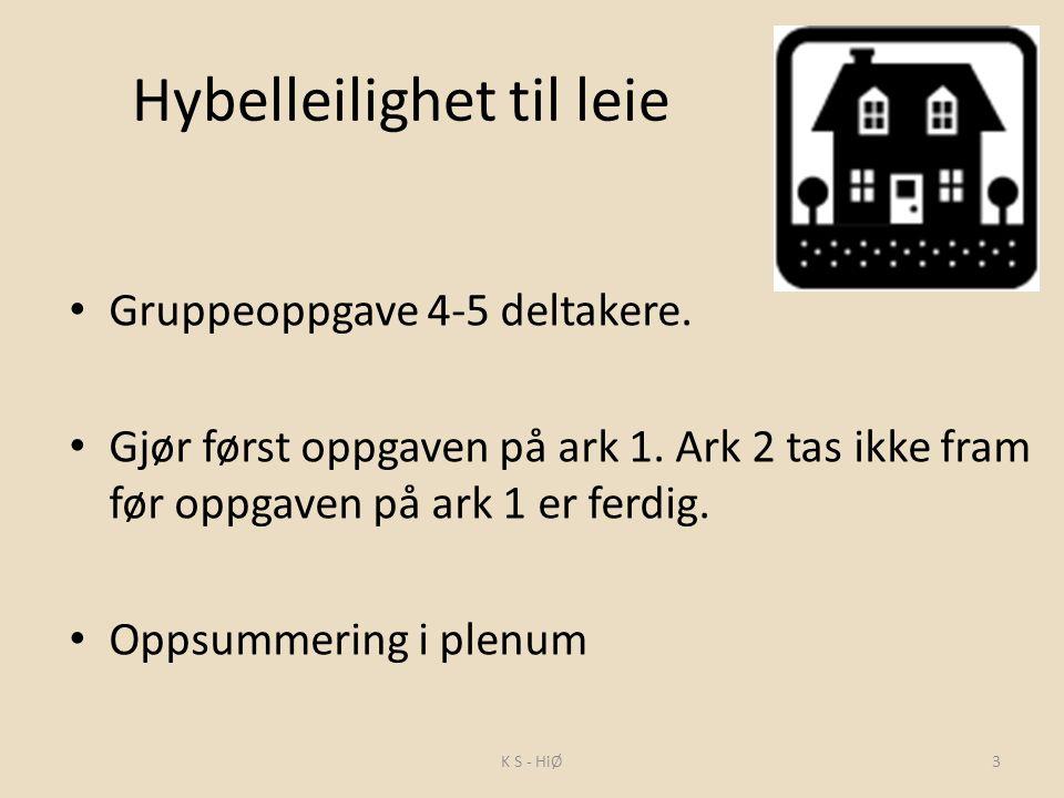 Hybelleilighet til leie Gruppeoppgave 4-5 deltakere.