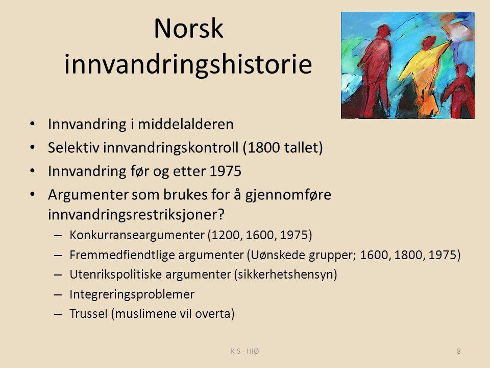 Norsk innvandringshistorie Innvandring i middelalderen Selektiv innvandringskontroll (1800 tallet) Innvandring før og etter 1975 Argumenter som brukes