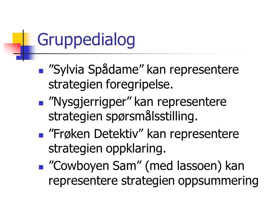 """Gruppedialog """"Sylvia Spådame"""" kan representere strategien foregripelse. """"Nysgjerrigper"""" kan representere strategien spørsmålsstilling. """"Frøken Detekti"""