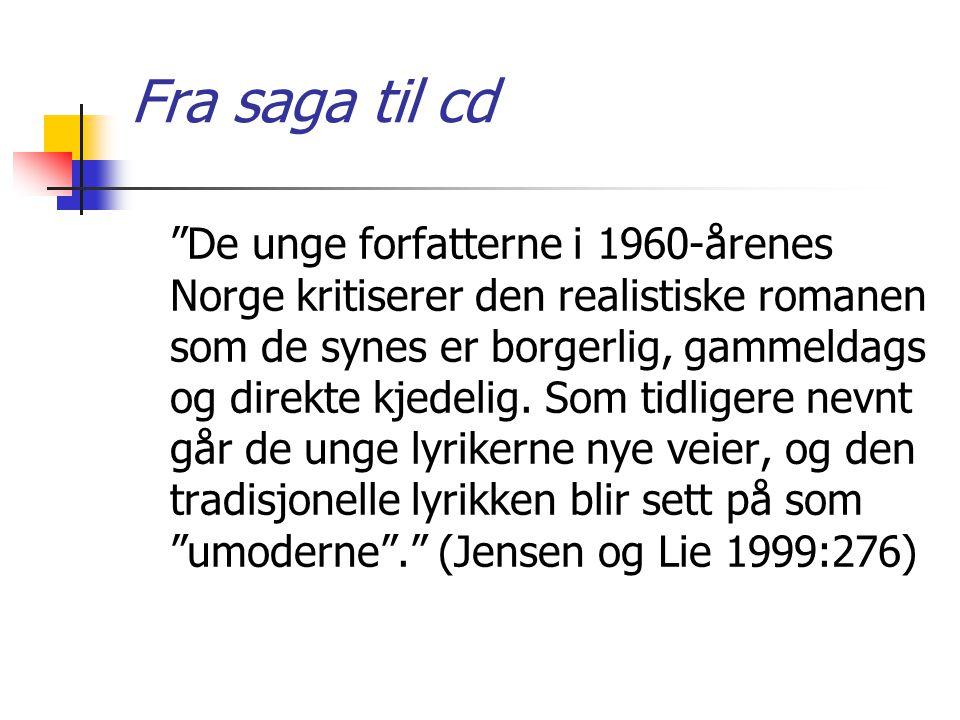 """Fra saga til cd """"De unge forfatterne i 1960-årenes Norge kritiserer den realistiske romanen som de synes er borgerlig, gammeldags og direkte kjedelig."""