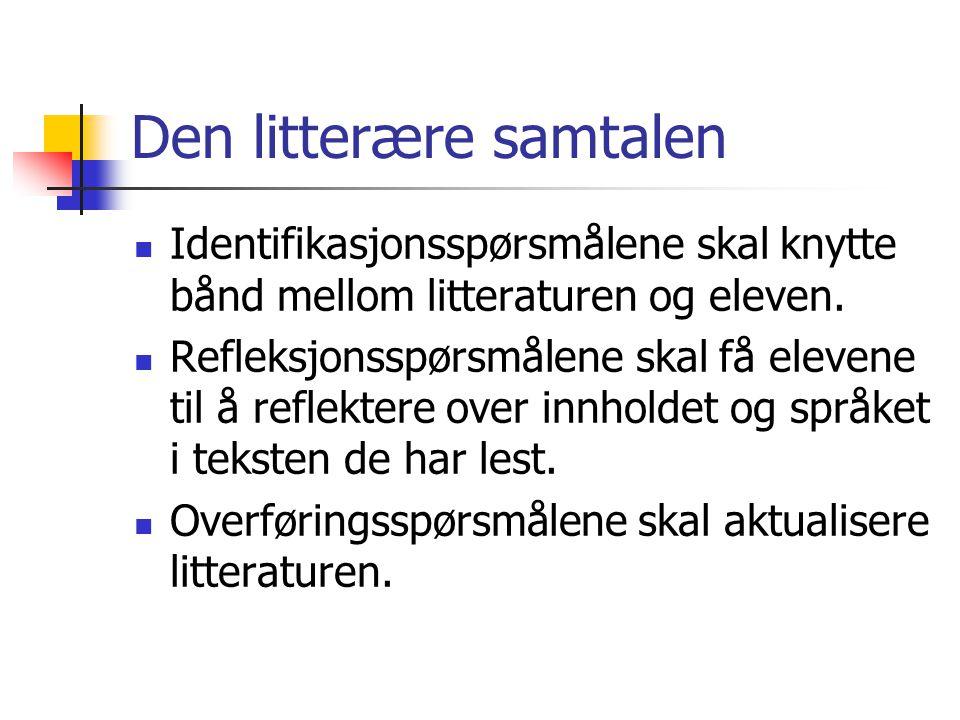Den litterære samtalen Identifikasjonsspørsmålene skal knytte bånd mellom litteraturen og eleven. Refleksjonsspørsmålene skal få elevene til å reflekt
