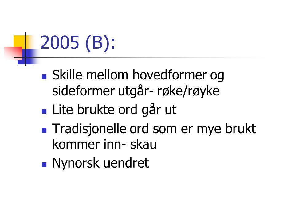 2005 (B): Skille mellom hovedformer og sideformer utgår- røke/røyke Lite brukte ord går ut Tradisjonelle ord som er mye brukt kommer inn- skau Nynorsk uendret