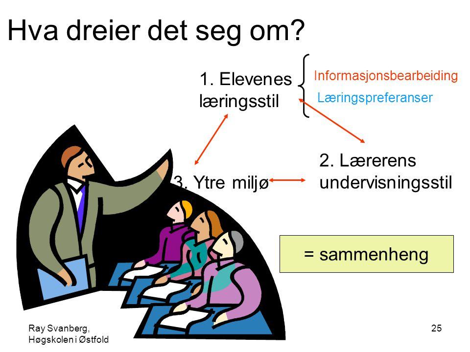 Ray Svanberg, Høgskolen i Østfold Læringsstiler25 Hva dreier det seg om? Informasjonsbearbeiding Læringspreferanser 2. Lærerens undervisningsstil 1. E