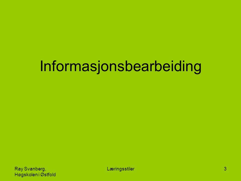 Ray Svanberg, Høgskolen i Østfold Læringsstiler4 Informasjonsbearbeiding Hvordan behandler (prossesserer) jeg informasjon.