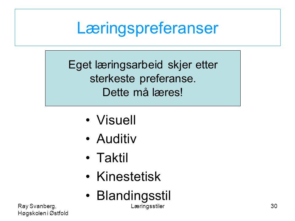 Ray Svanberg, Høgskolen i Østfold Læringsstiler30 Læringspreferanser Visuell Auditiv Taktil Kinestetisk Blandingsstil Eget læringsarbeid skjer etter s