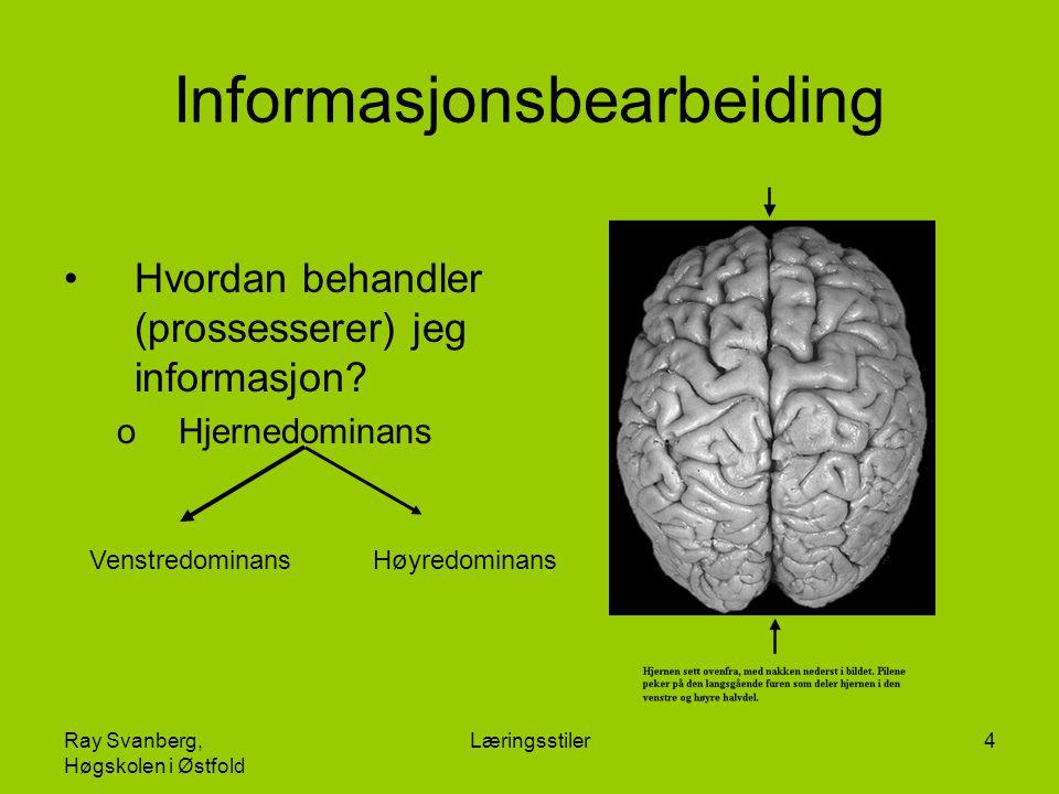 Ray Svanberg, Høgskolen i Østfold Læringsstiler4 Informasjonsbearbeiding Hvordan behandler (prossesserer) jeg informasjon? oHjernedominans Høyredomina