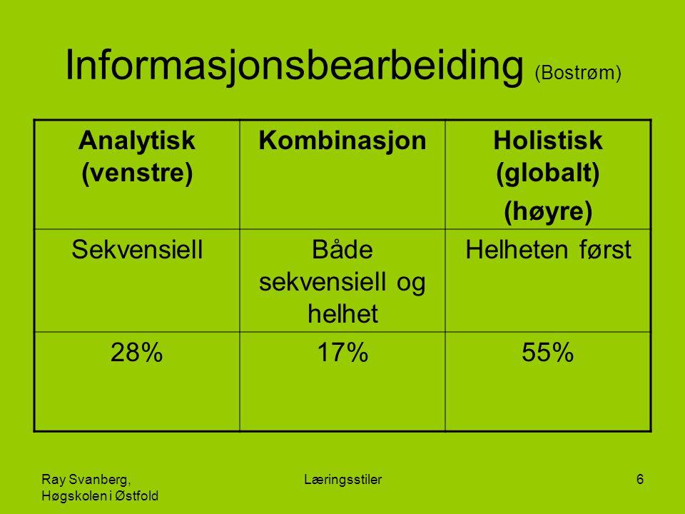 Ray Svanberg, Høgskolen i Østfold Læringsstiler6 Informasjonsbearbeiding (Bostrøm) Analytisk (venstre) KombinasjonHolistisk (globalt) (høyre) Sekvensi