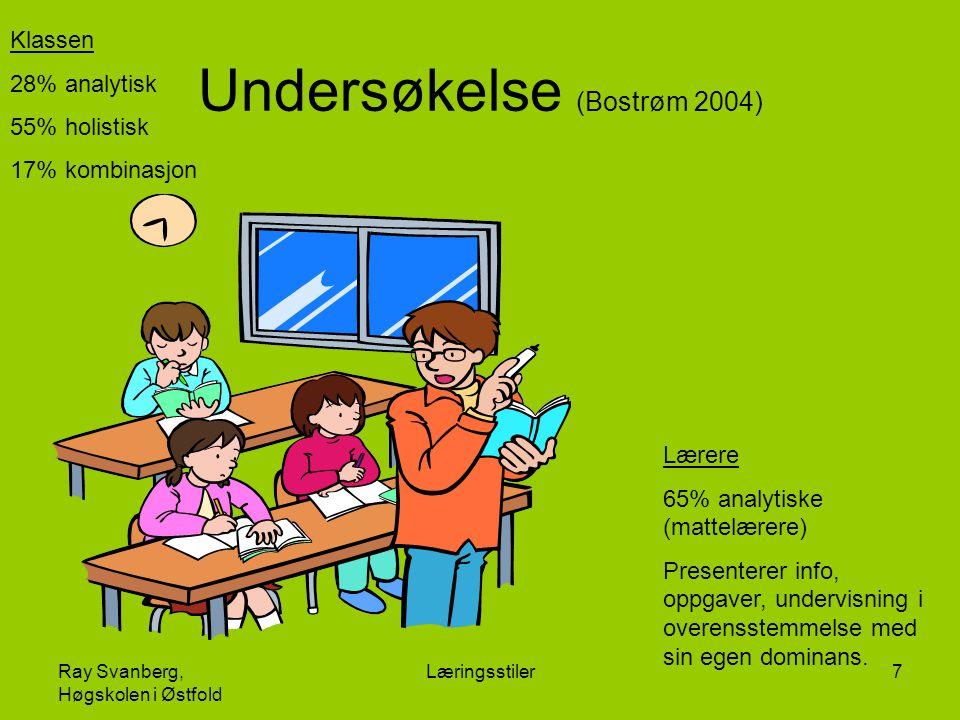 Ray Svanberg, Høgskolen i Østfold Læringsstiler7 Undersøkelse (Bostrøm 2004) Klassen 28% analytisk 55% holistisk 17% kombinasjon Lærere 65% analytiske