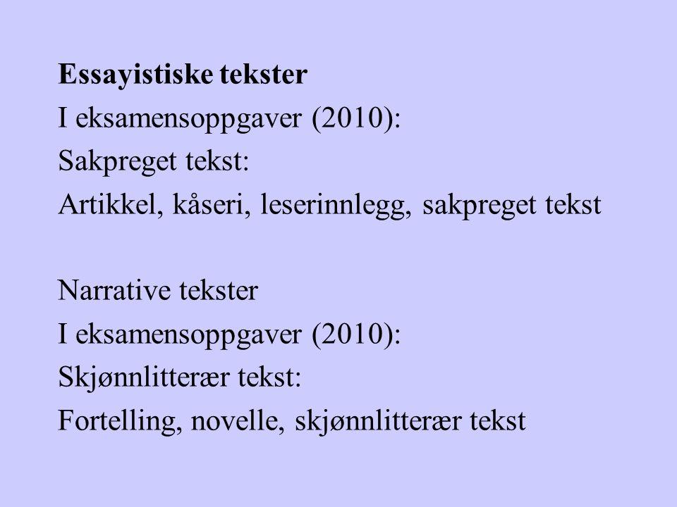 Essayistiske tekster I eksamensoppgaver (2010): Sakpreget tekst: Artikkel, kåseri, leserinnlegg, sakpreget tekst Narrative tekster I eksamensoppgaver
