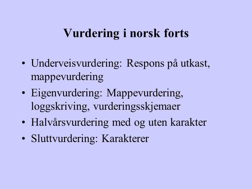 Vurdering i norsk forts Underveisvurdering: Respons på utkast, mappevurdering Eigenvurdering: Mappevurdering, loggskriving, vurderingsskjemaer Halvårs