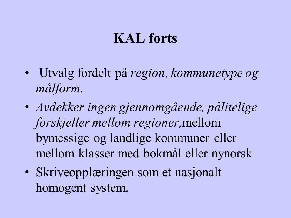 KAL forts Utvalg fordelt på region, kommunetype og målform. Avdekker ingen gjennomgående, pålitelige forskjeller mellom regioner,mellom bymessige og l
