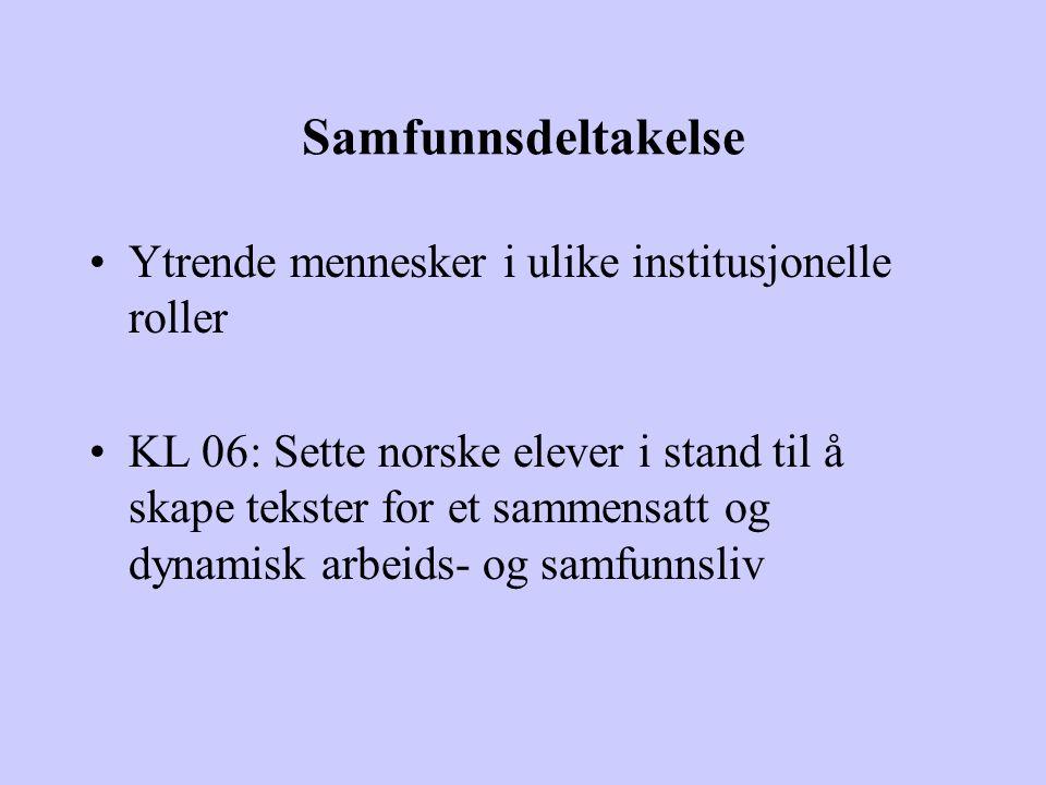 Samfunnsdeltakelse Ytrende mennesker i ulike institusjonelle roller KL 06: Sette norske elever i stand til å skape tekster for et sammensatt og dynami