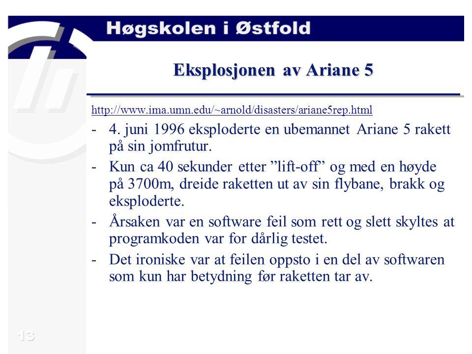 13 Eksplosjonen av Ariane 5 http://www.ima.umn.edu/~arnold/disasters/ariane5rep.html -4.