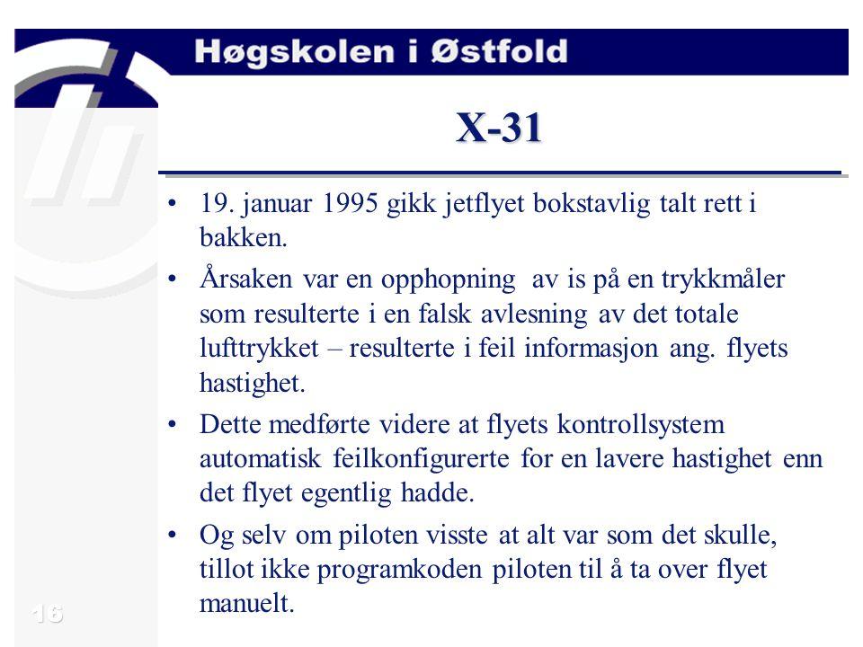 16 X-31 19.januar 1995 gikk jetflyet bokstavlig talt rett i bakken.
