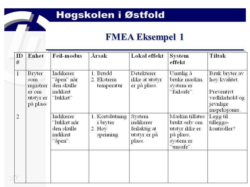 27 FMEA Eksempel 1