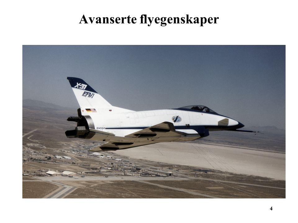 15 Avanserte flyegenskaper 15 X-31 styrtet fordi trykkmåleren (et rør på utsiden av flyet) ble tildekket av is.