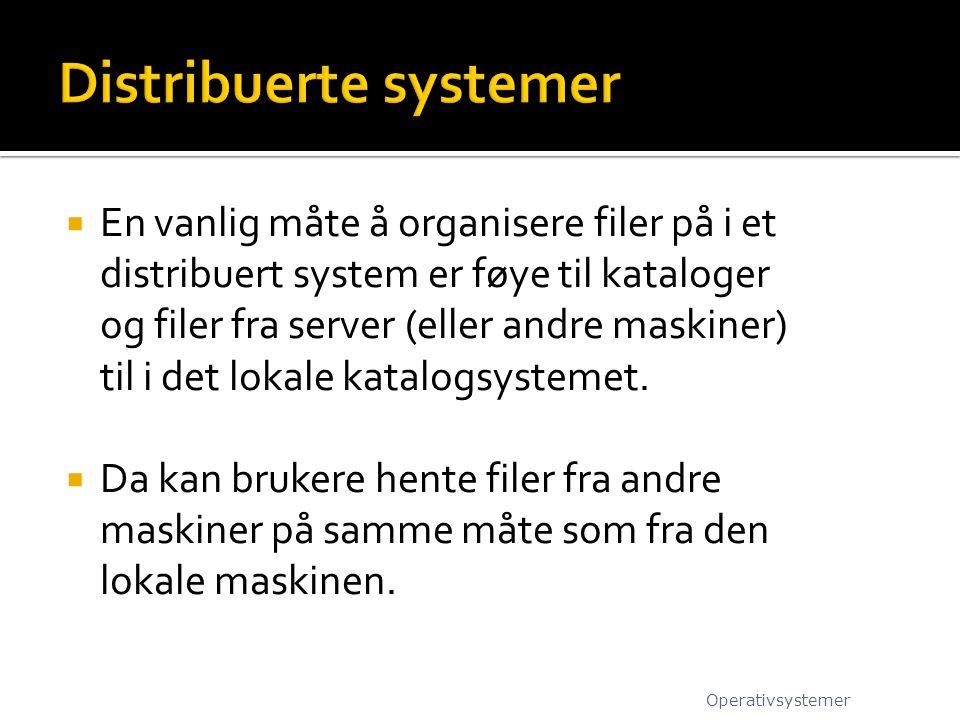  En vanlig måte å organisere filer på i et distribuert system er føye til kataloger og filer fra server (eller andre maskiner) til i det lokale katal