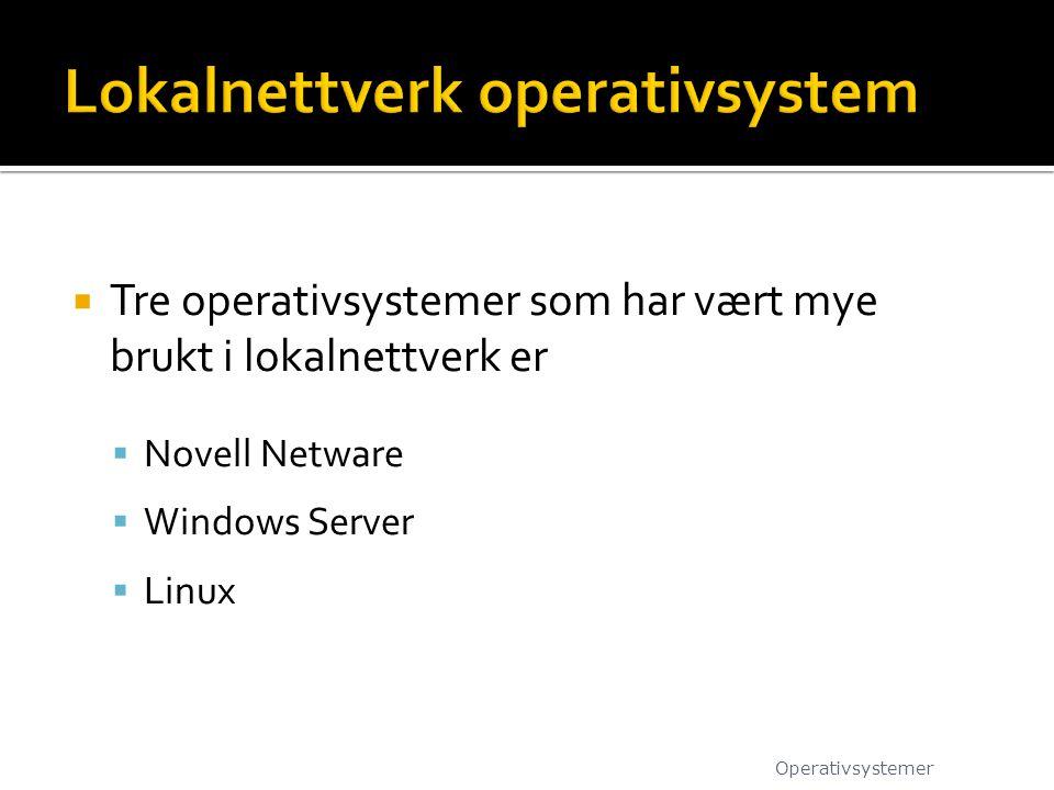  Tre operativsystemer som har vært mye brukt i lokalnettverk er  Novell Netware  Windows Server  Linux Operativsystemer