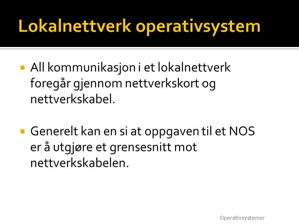  All kommunikasjon i et lokalnettverk foregår gjennom nettverkskort og nettverkskabel.  Generelt kan en si at oppgaven til et NOS er å utgjøre et gr