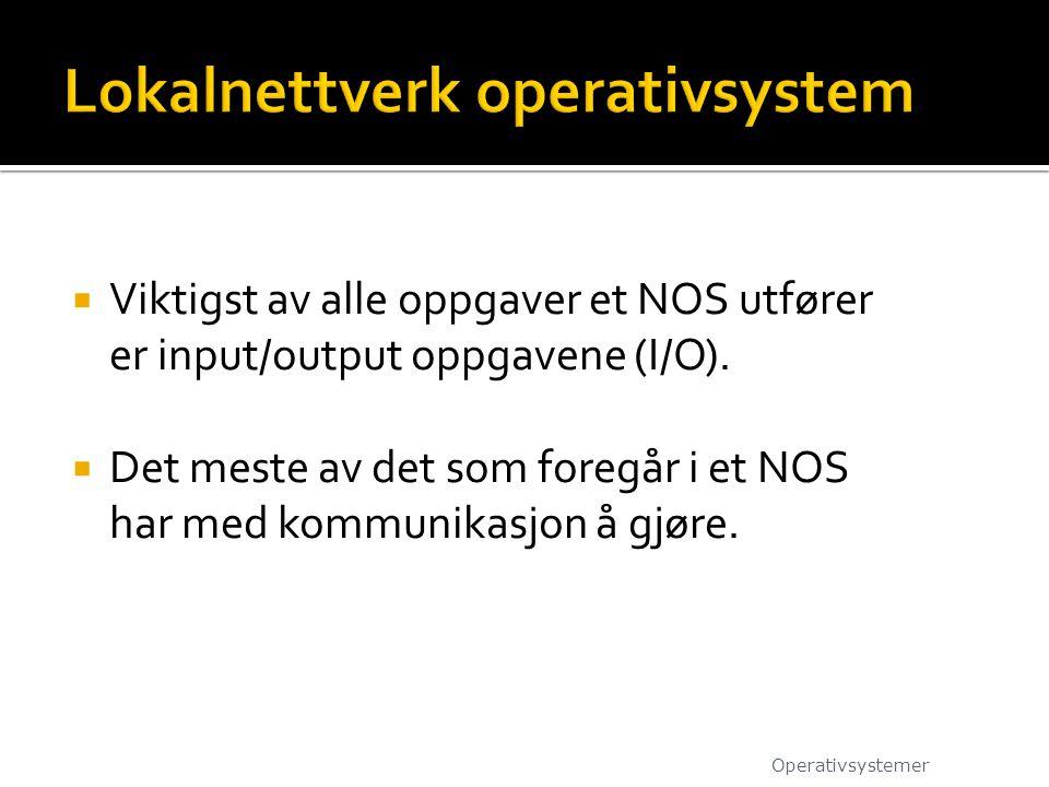  Viktigst av alle oppgaver et NOS utfører er input/output oppgavene (I/O).  Det meste av det som foregår i et NOS har med kommunikasjon å gjøre. Ope