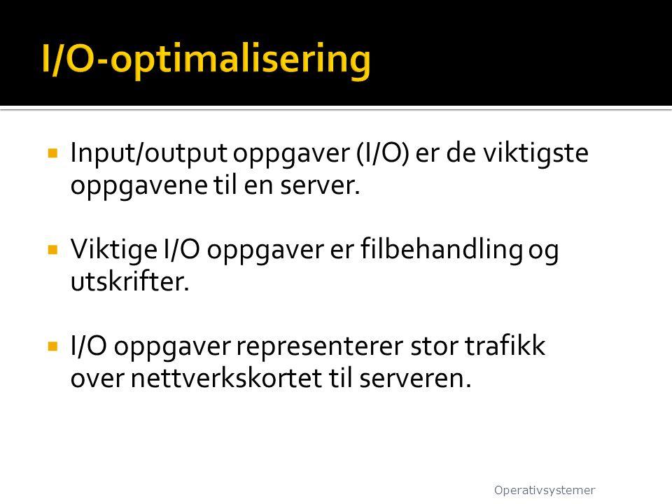  Input/output oppgaver (I/O) er de viktigste oppgavene til en server.  Viktige I/O oppgaver er filbehandling og utskrifter.  I/O oppgaver represent