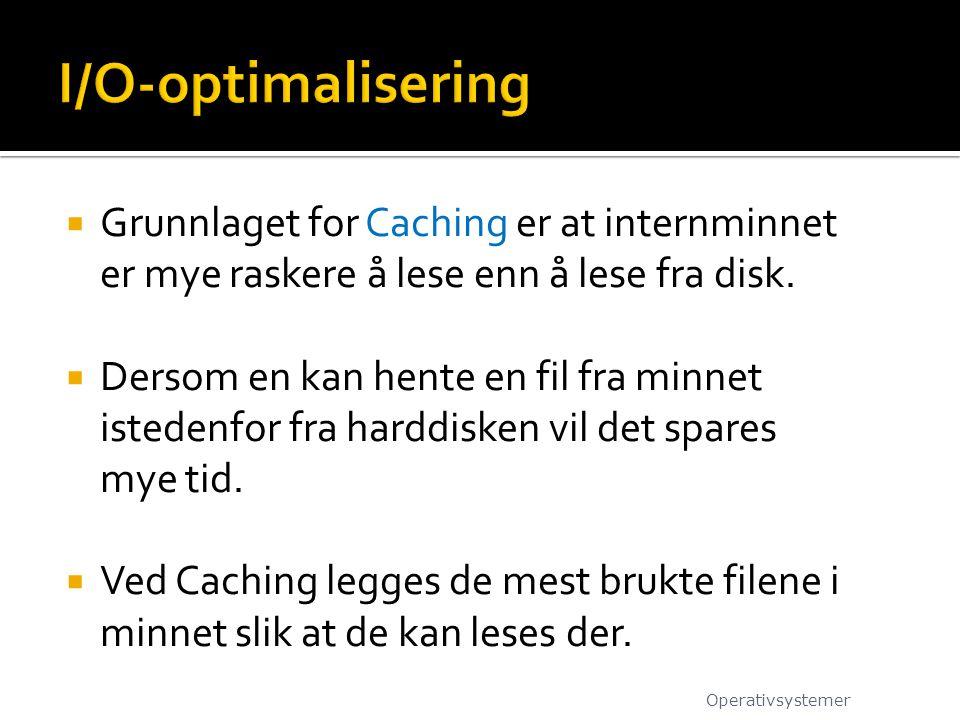  Grunnlaget for Caching er at internminnet er mye raskere å lese enn å lese fra disk.  Dersom en kan hente en fil fra minnet istedenfor fra harddisk