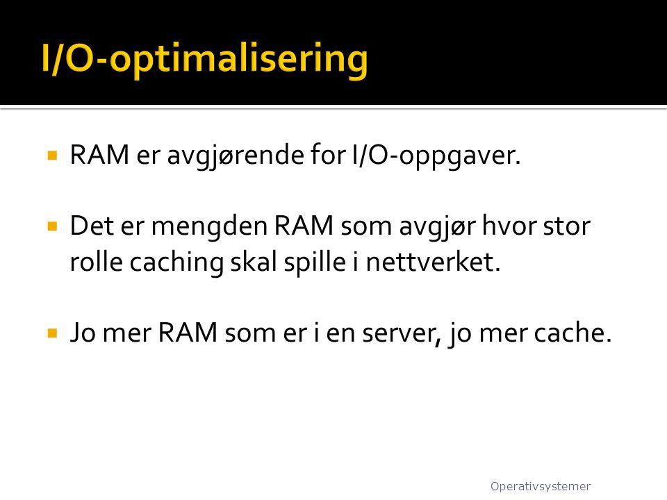  RAM er avgjørende for I/O-oppgaver.  Det er mengden RAM som avgjør hvor stor rolle caching skal spille i nettverket.  Jo mer RAM som er i en serve