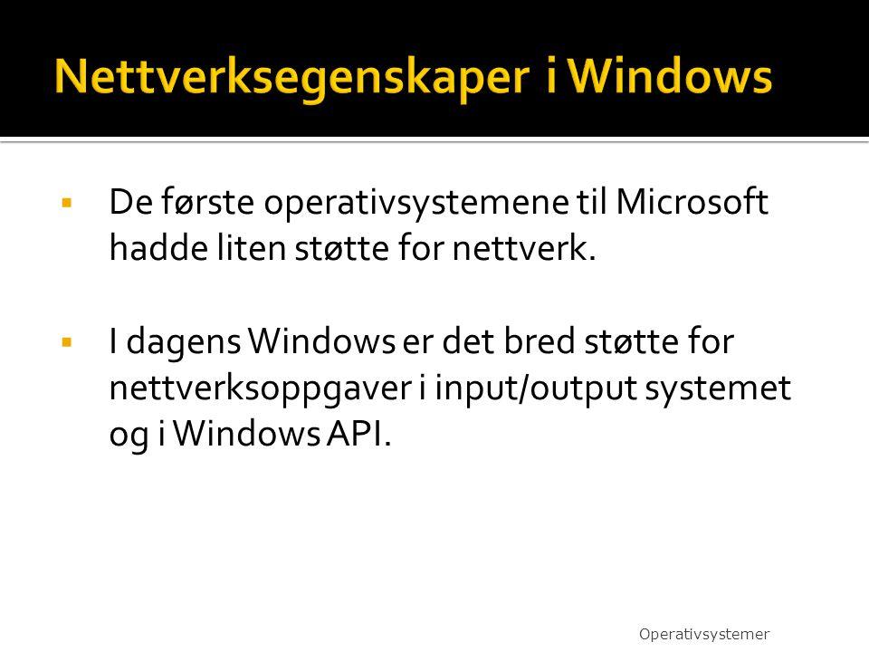  De første operativsystemene til Microsoft hadde liten støtte for nettverk.  I dagens Windows er det bred støtte for nettverksoppgaver i input/outpu