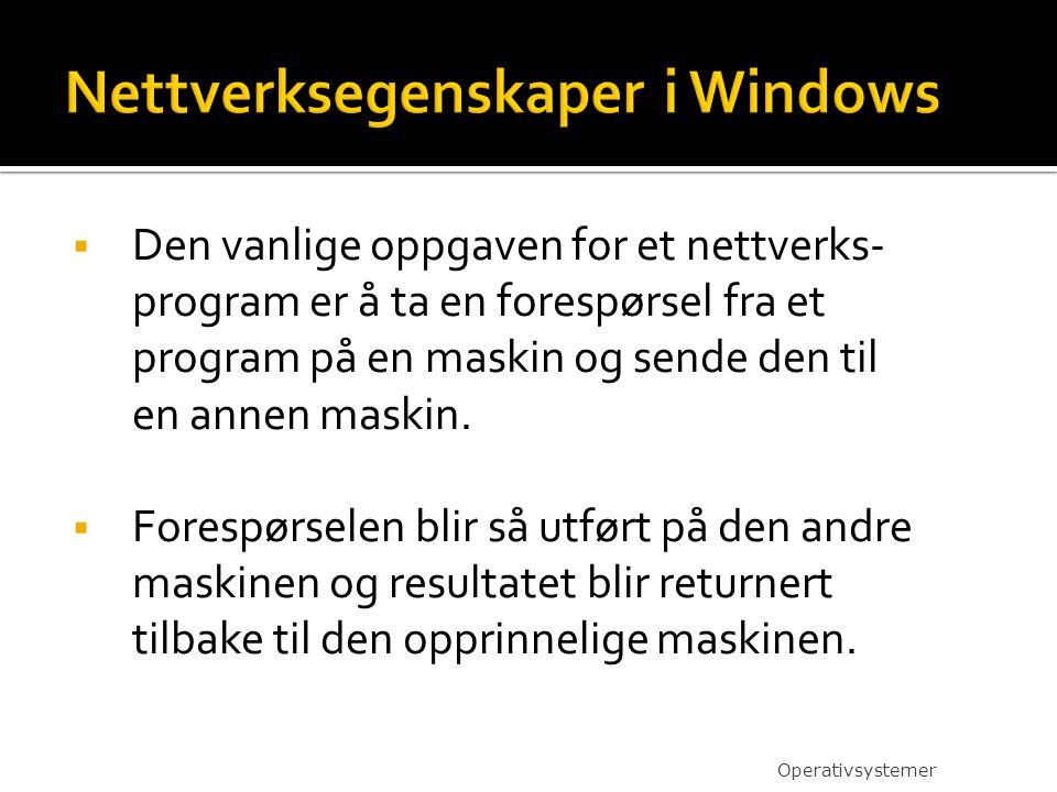  Den vanlige oppgaven for et nettverks- program er å ta en forespørsel fra et program på en maskin og sende den til en annen maskin.  Forespørselen