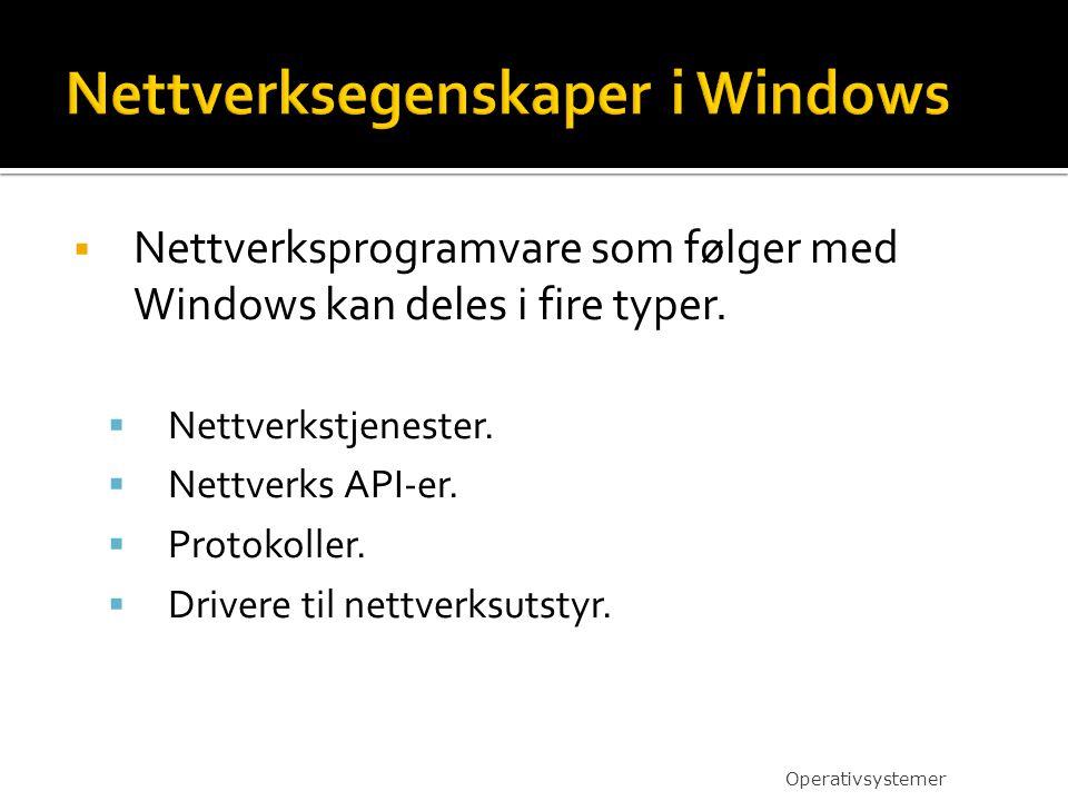  Nettverksprogramvare som følger med Windows kan deles i fire typer.  Nettverkstjenester.  Nettverks API-er.  Protokoller.  Drivere til nettverks