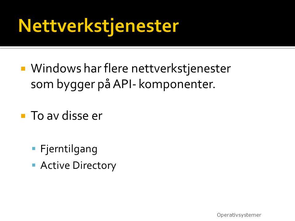  Windows har flere nettverkstjenester som bygger på API- komponenter.  To av disse er  Fjerntilgang  Active Directory Operativsystemer