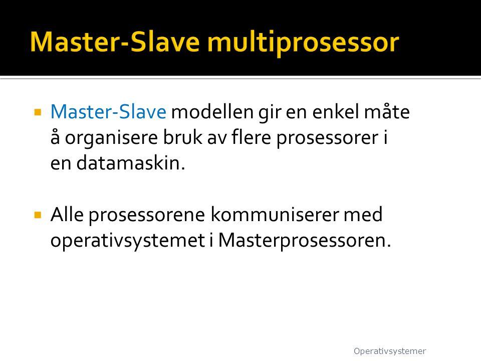  Master-Slave modellen gir en enkel måte å organisere bruk av flere prosessorer i en datamaskin.  Alle prosessorene kommuniserer med operativsysteme