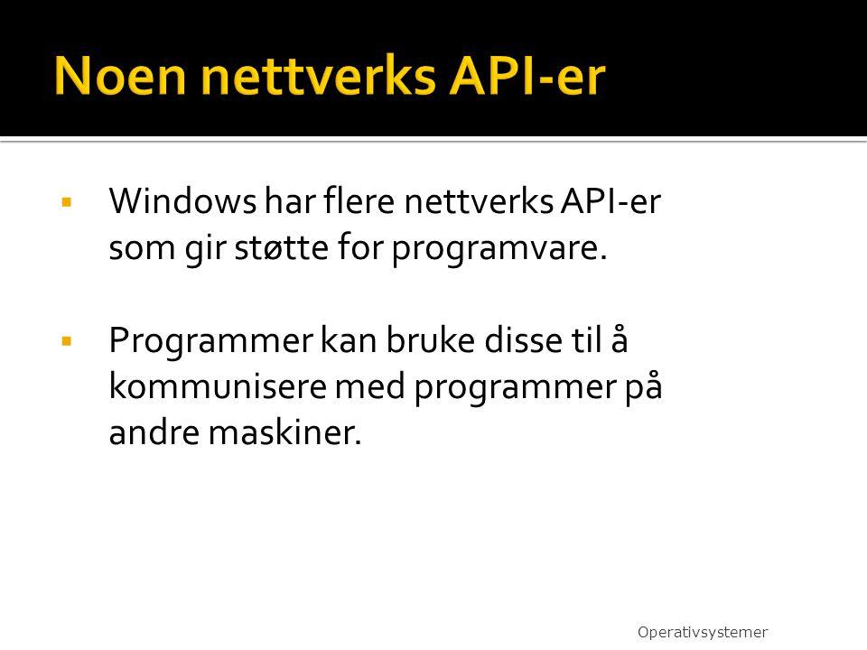  Windows har flere nettverks API-er som gir støtte for programvare.  Programmer kan bruke disse til å kommunisere med programmer på andre maskiner.