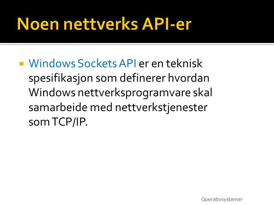  Windows Sockets API er en teknisk spesifikasjon som definerer hvordan Windows nettverksprogramvare skal samarbeide med nettverkstjenester som TCP/IP