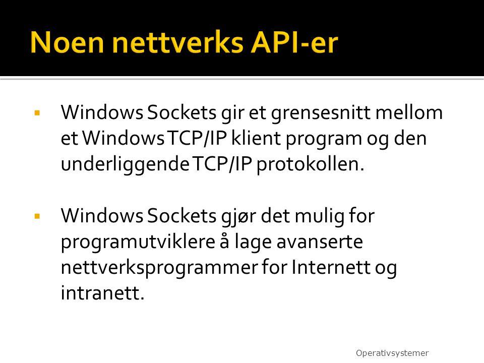  Windows Sockets gir et grensesnitt mellom et Windows TCP/IP klient program og den underliggende TCP/IP protokollen.  Windows Sockets gjør det mulig