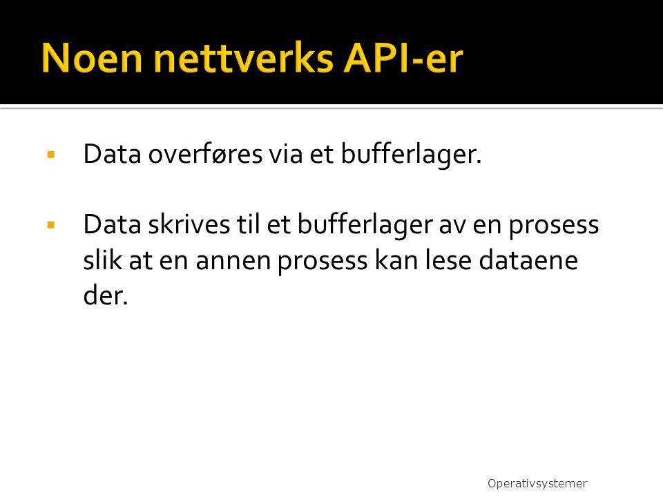  Data overføres via et bufferlager.  Data skrives til et bufferlager av en prosess slik at en annen prosess kan lese dataene der. Operativsystemer